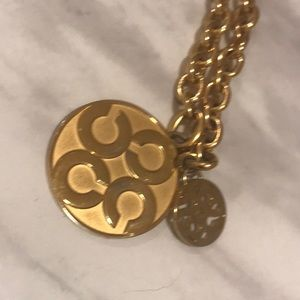 🆕Authentic Coach Signature Gold Circle Necklace
